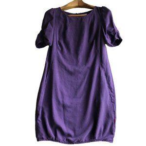 Jackpot Plum Purple Boxy Short Sleeve Pocket Dress